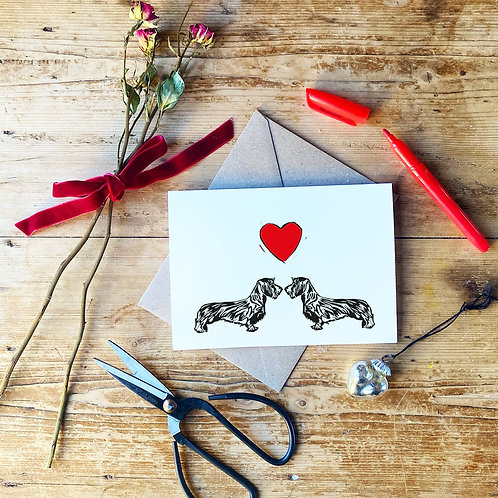Wire Haired Dachshund Love Greeting Card