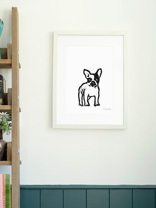 French Bulldog linoprint