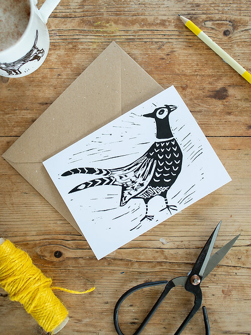 Lino print pheasant greeting card