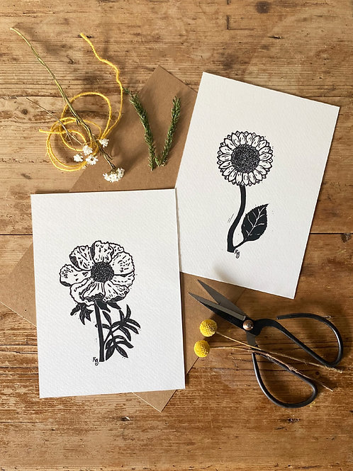 Set Of Two Peony and Sunflower Cottage Garden Wall Art Prints