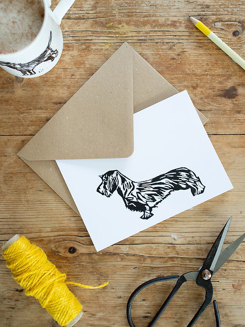 Lino Print Wire Haired Dachshund greeting card