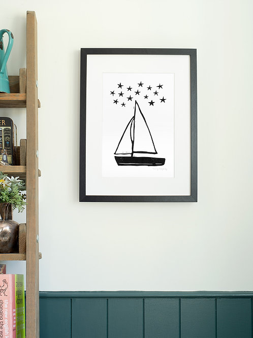 Sailing Boat linoprint wall art