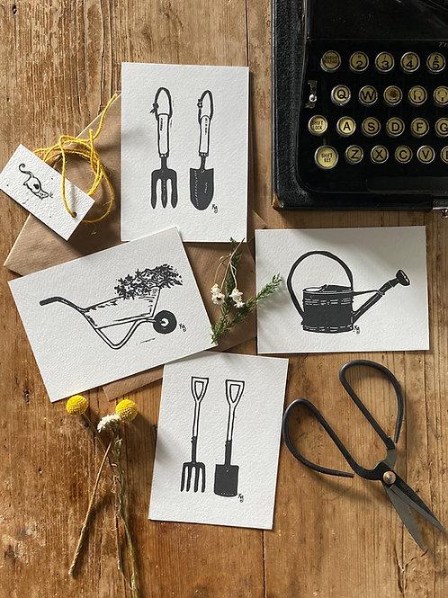Set Of Four Cottage Garden Tools Mini Prints