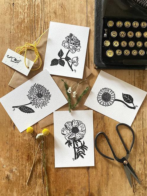 Set Of Four Cottage Garden Botanical Mini Prints