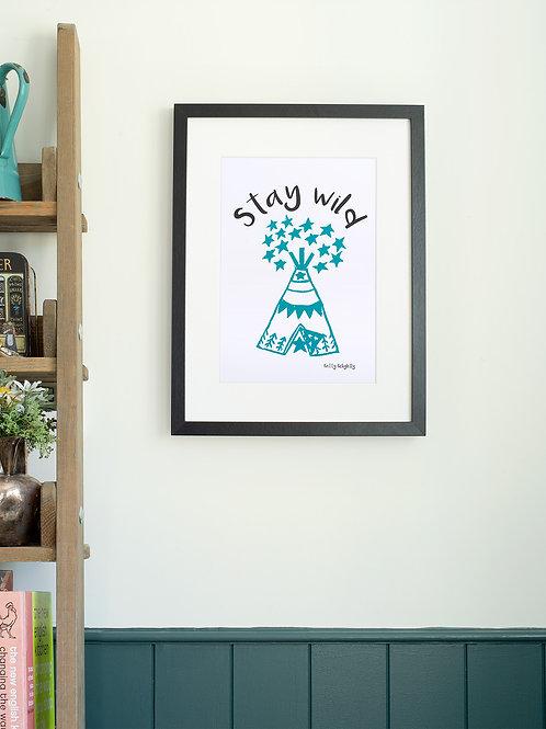 Stay Wild Teepee linoprint wall art