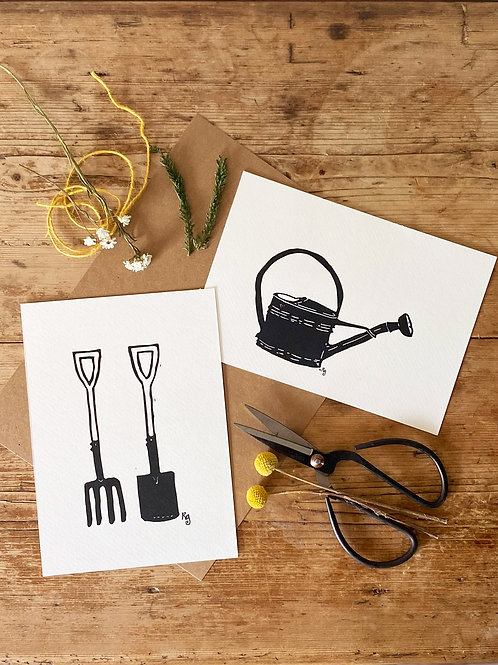 Set Of Two Watering Can and Spade & Fork Cottage Garden Wall Art Prints