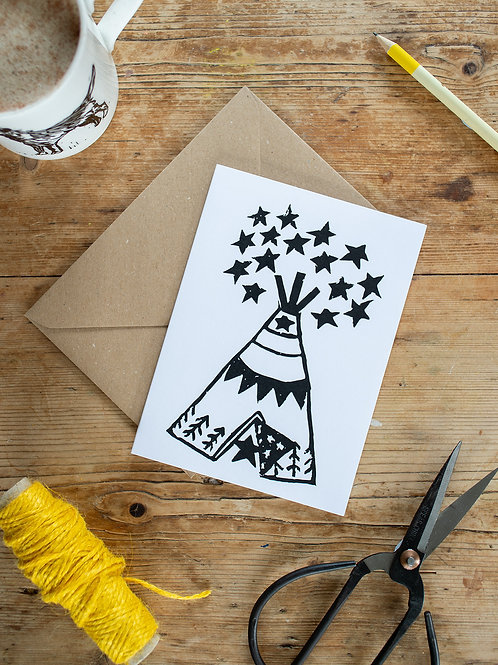 Linoprint Teepee greeting card