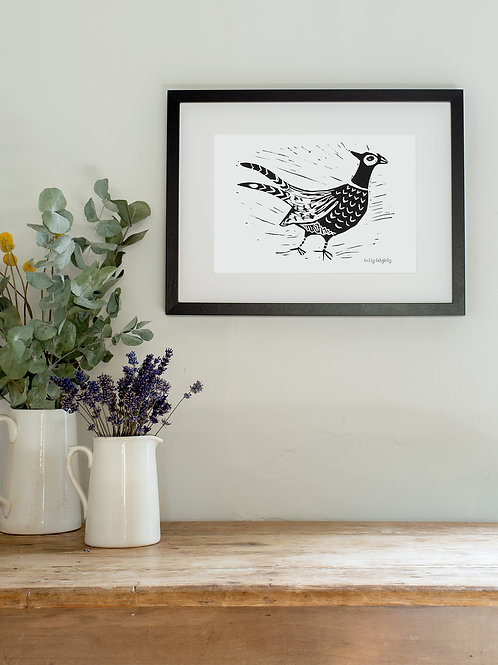 Pheasant linoprint wall art