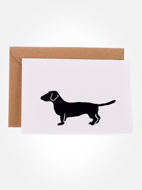 Lino print Dachshund greeting card