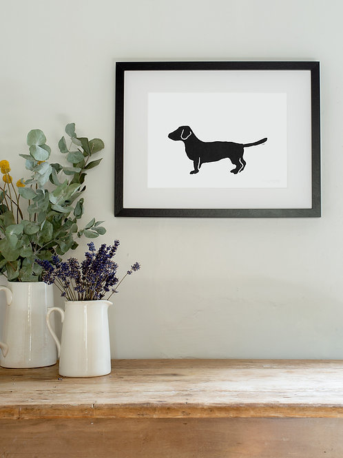 Dachshund linoprint wall art