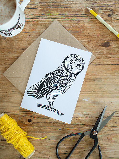 Lino print owl greeting card