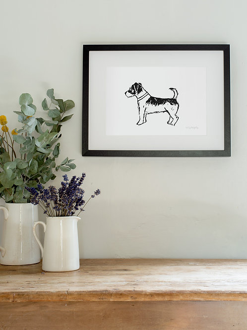Linoprint Jack Russell wall art
