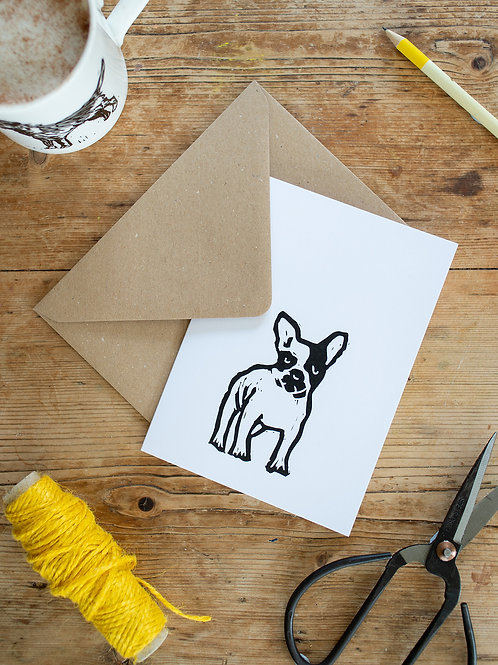 Lino print French Bulldog greeting card