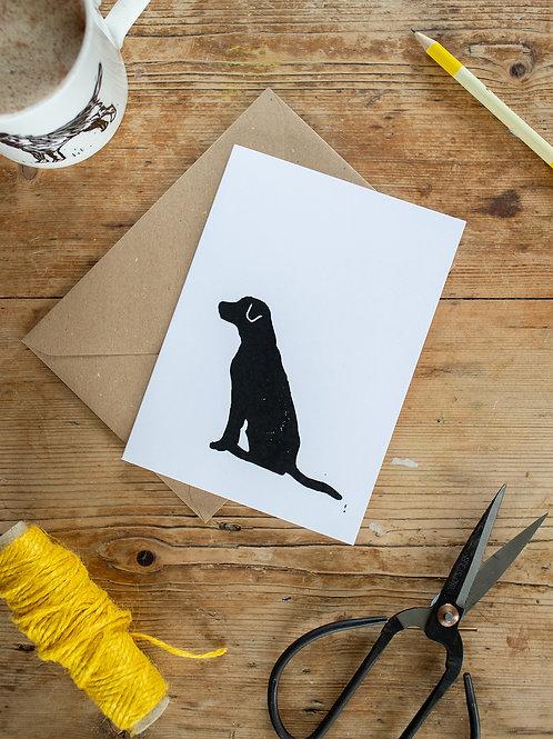 Lino print Labrador greeting card