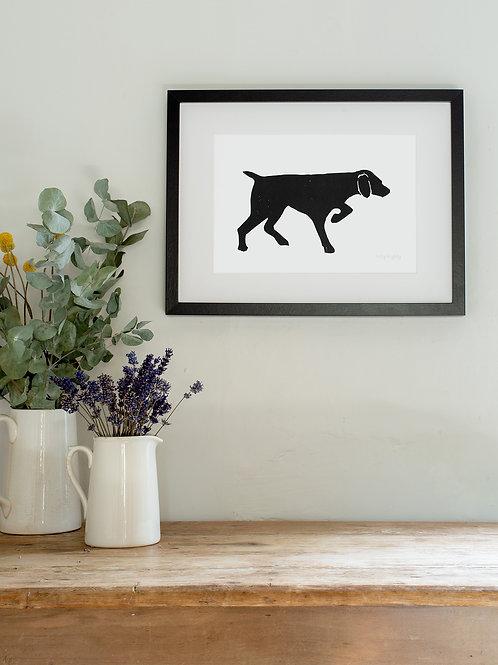 Pointer linoprint wall art