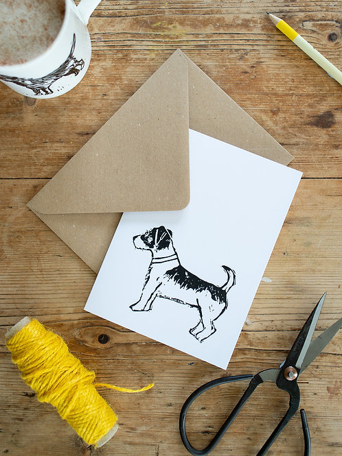 Lino print Jack Russell greeting card