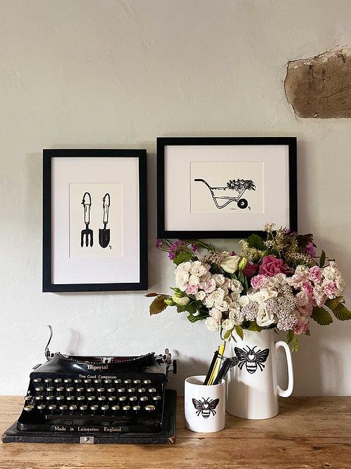Set Of Two Wheelbarrow and Trowel & Fork Cottage Garden Wall Art Prints