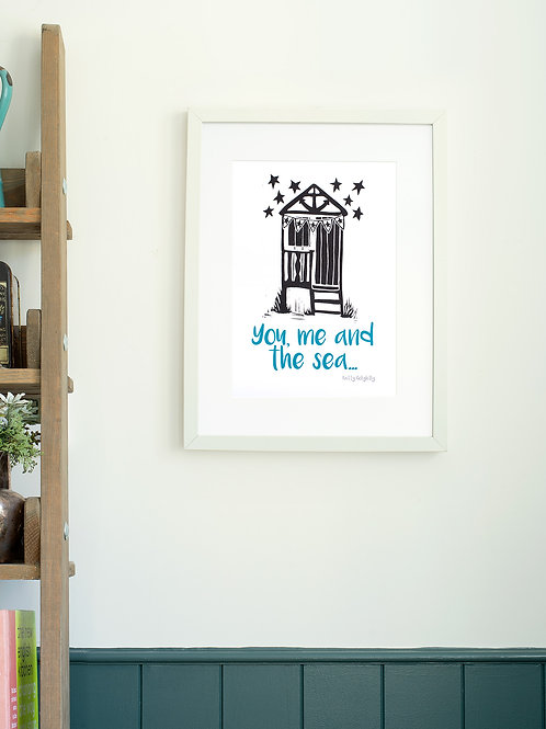 You, Me and the Sea linoprint wall art