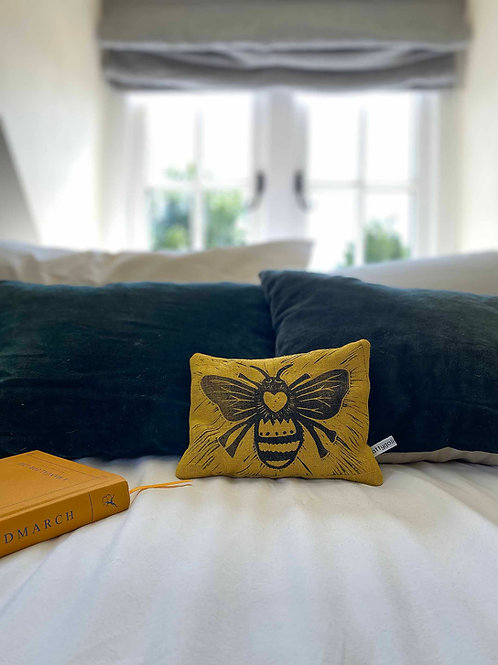 Yellow Linen Queen Bee Lavender Pillow