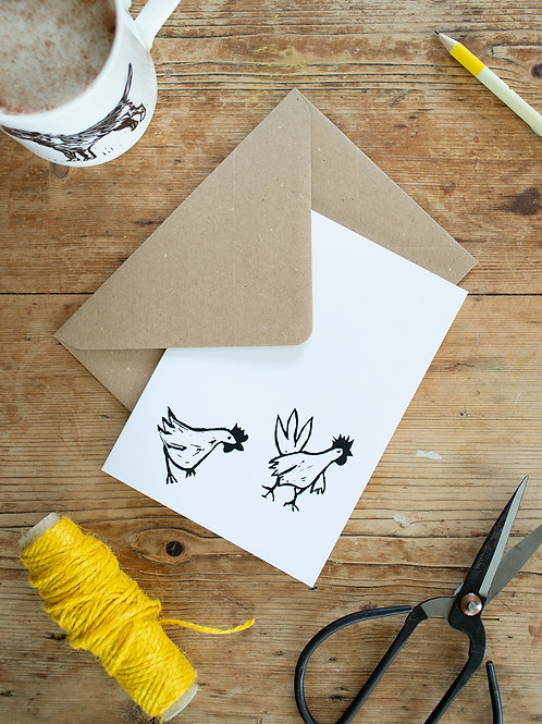 Lino Print Chickens Greeting Card