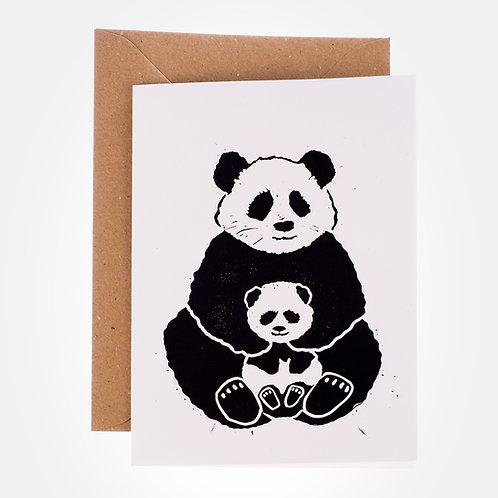 Blockprint panda mother and cub