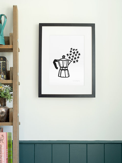 Moka pot linoprint wall art