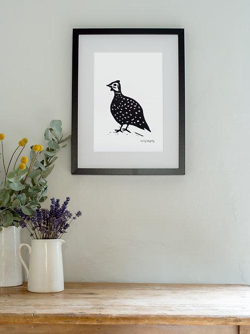 Guinea Fowl linoprint wall art
