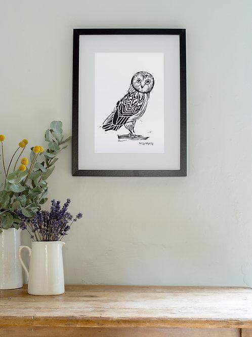 Linoprint owl wall art