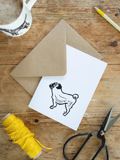 Lino print Pug greeting card