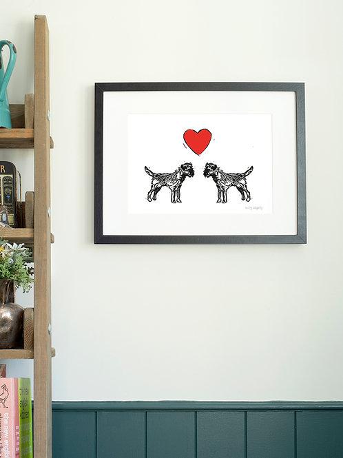 Border Terrier Love A4 Wall Art Print