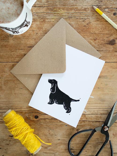 Lino print Cocker Spaniel Greeting Card