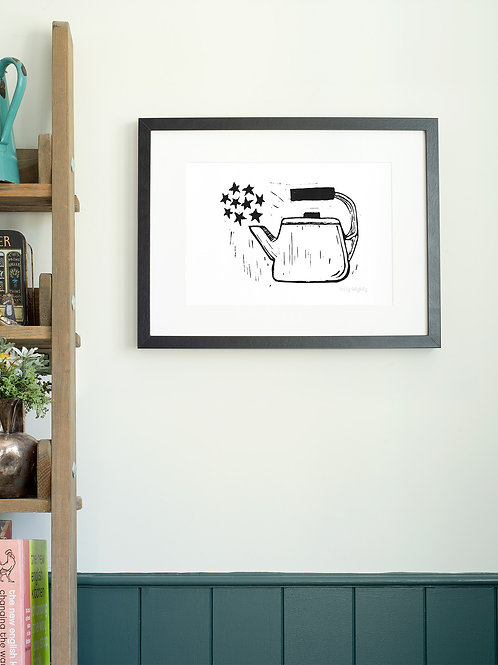 Scandi Teapot linoprint art print