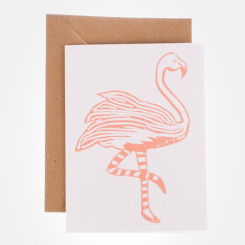 block print flamingo