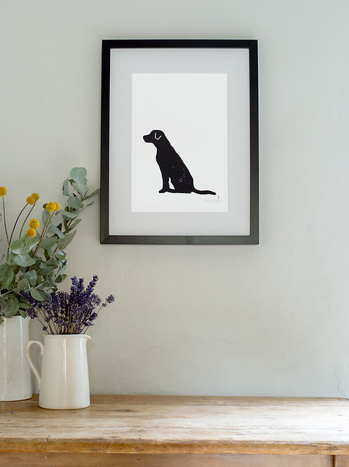 Labrador linoprint wall art
