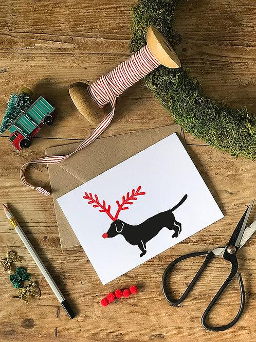 Five Dachshund Christmas Cards