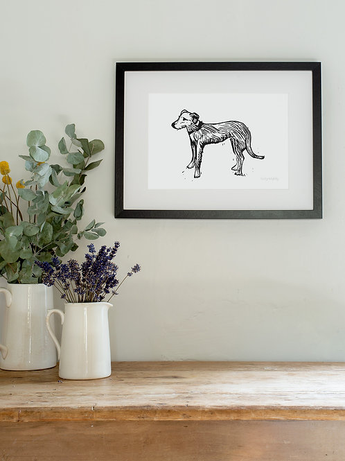 Lurcher linoprint wall art print