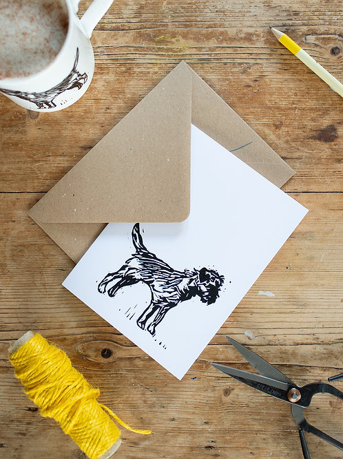 Lino print Border Terrier Greeting Card