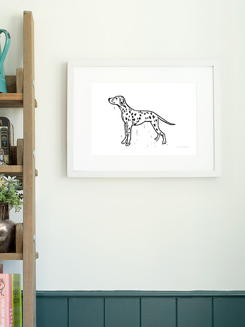 Dalmation linoprint wall art