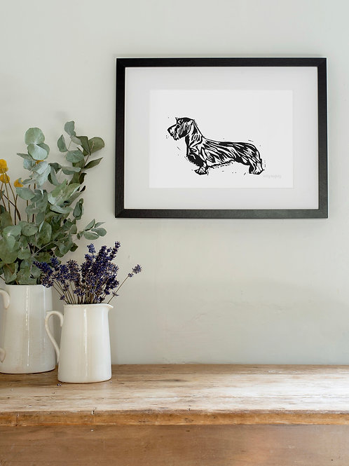 Linoprint Wire Haired Dachshund wall print