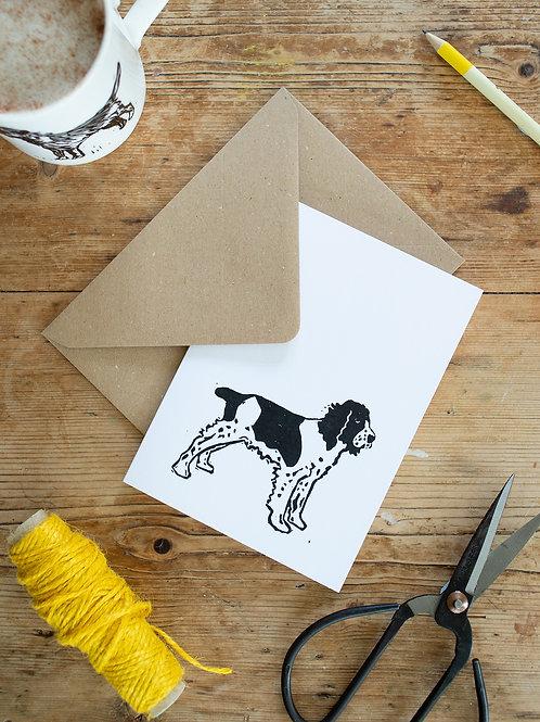 Lino print Spring Spaniel greeting card