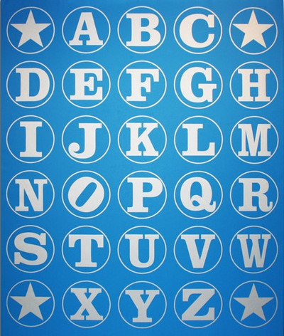 Silver Blue Alphabet Wall