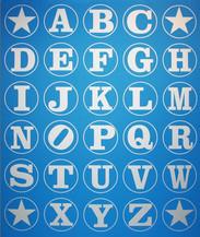 Silver Blue Alphabet Wall