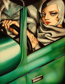 Self portrait in a Green Bugatti (homage of Tamara de lempick)