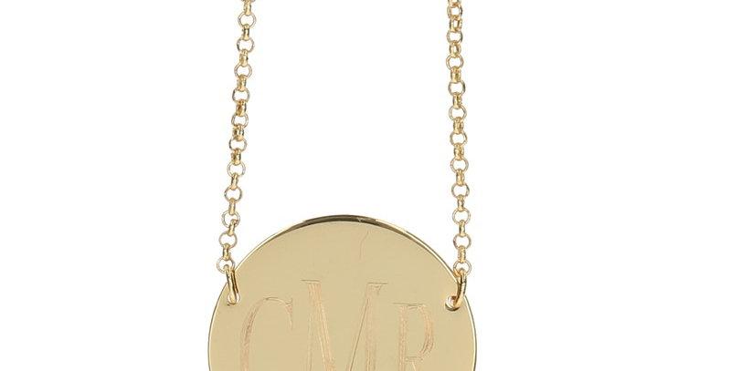 Round Monogrammed Disc Necklace