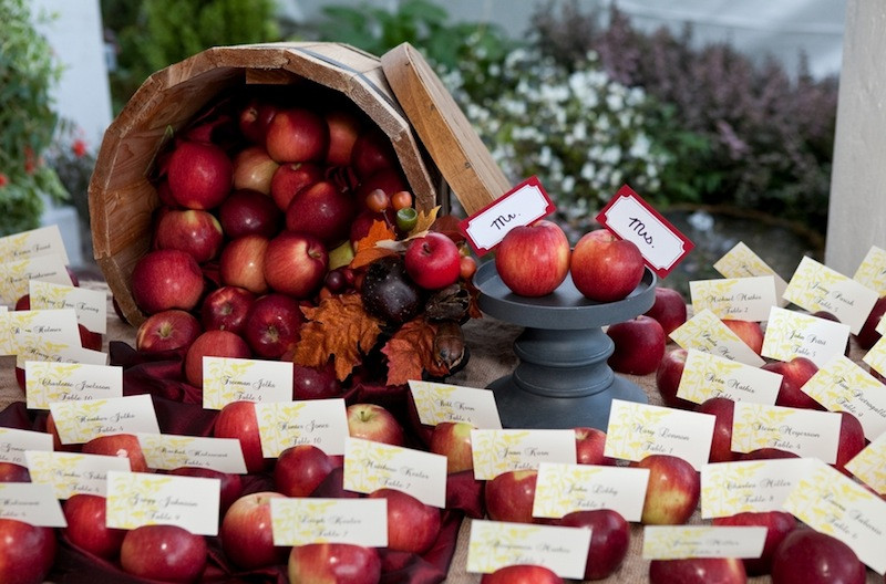 Red apples with escort cards
