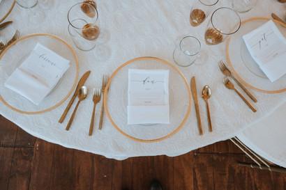 Wedding menu cards.