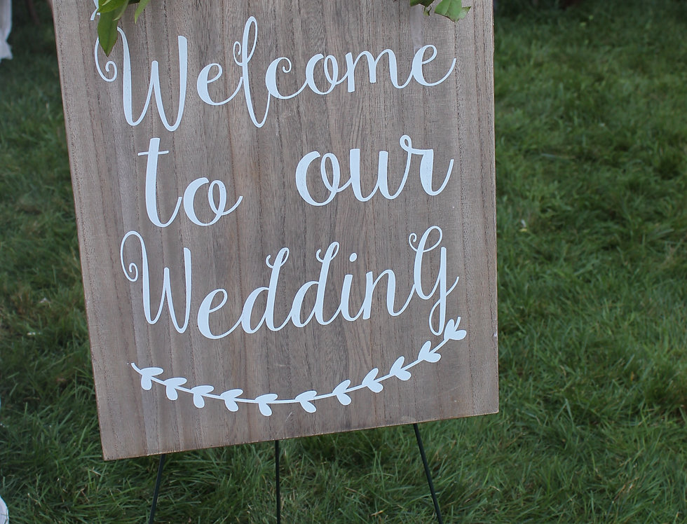 """""""Welcome to our Wedding"""" Wood sign - RENTAL"""