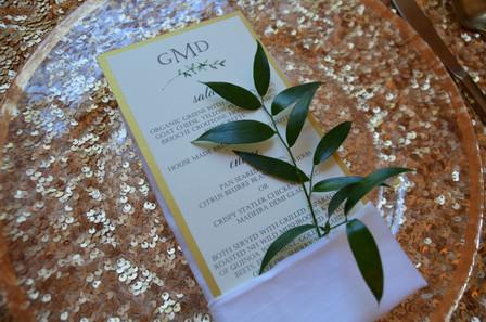 fancy wedding menu.