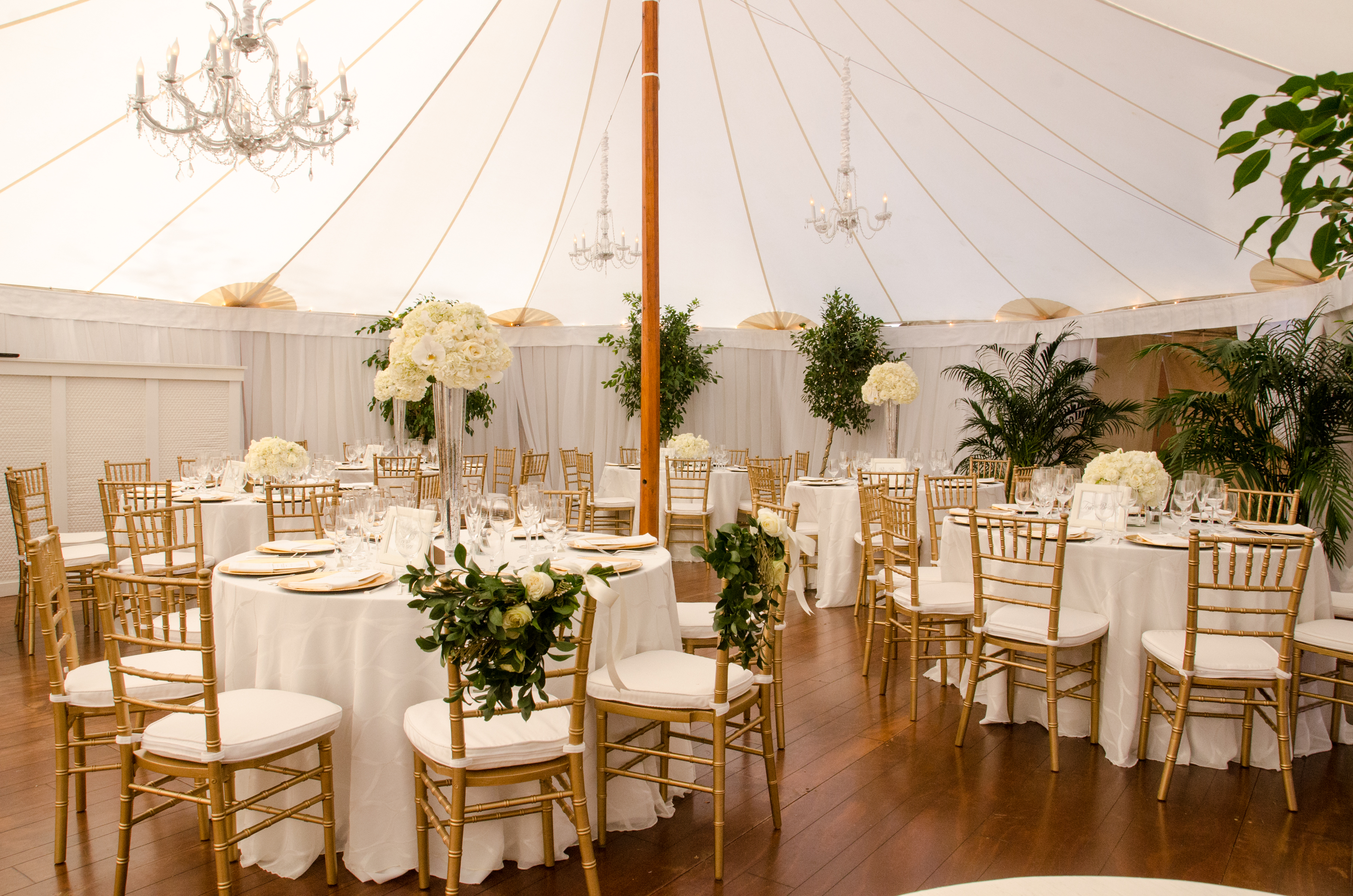 white tented wedding decor