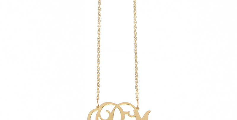 Gold Interlocking Monogram Necklace